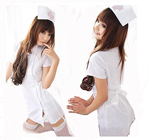 DAYAN Women Sexy Erotic Lingerie Nurse Uniform Fancy Dress Costumes White