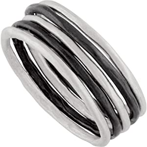 Sterling Silver Set of 5 Stackable Rings 2 of 5 with Black Rhodium Plating: Size 8