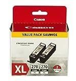 Canon PGI-270 XL Pigment Black Twin Pack, Compatible to MG7720,MG6820,MG6821,MG6822,MG5720,MG5722,MG5721