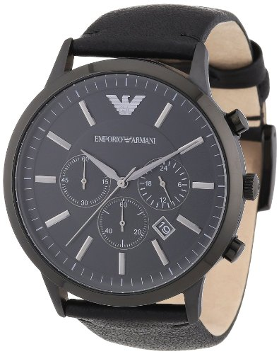 Emporio Armani AR2461 Sportivo Men's Black Leather Watch