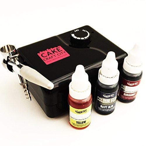 cake-decorating-airbrush-starter-kit-includes-compressor-gun-3-colours-carry-case-for-cake-decoratin