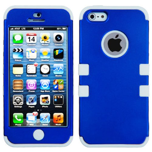 Mylife White And Royal Blue - Colorful Robot Series (Neo Hypergrip Flex Gel) 3 Piece Case For Iphone 5/5S (5G) 5Th Generation Smartphone By Apple (External 2 Piece Fitted On Hard Rubberized Plates + Internal Soft Silicone Easy Grip Bumper Gel)