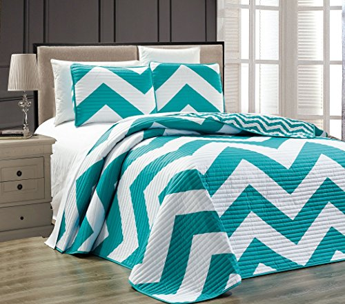 Chezmoi Collection 2-piece Chevron Zig Zag Coverlet Set (Twin, Teal) (Twin Teal Quilt compare prices)