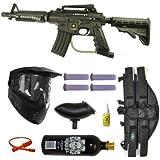 US Army Alpha Black Tactical Paintball Marker Gun 3Skull 4+1 Mega Set - Black