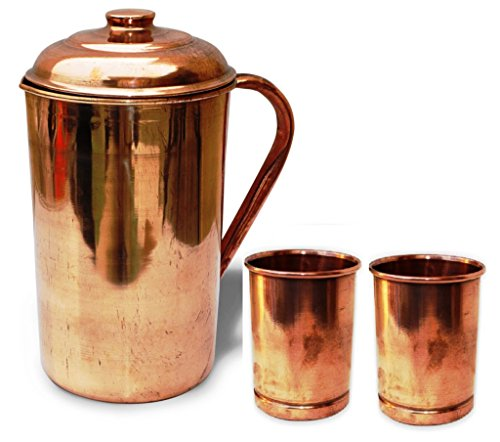 BLUE NIGHT Handmade Copper Pitcher Jug With Lid With 2 Solid And Pure Copper Glass Brown (Solid Water Jug compare prices)