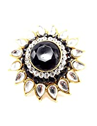 Aria Party Wear Black Kundan CZ Gold Plated Adjustable Finger Ring Fr239