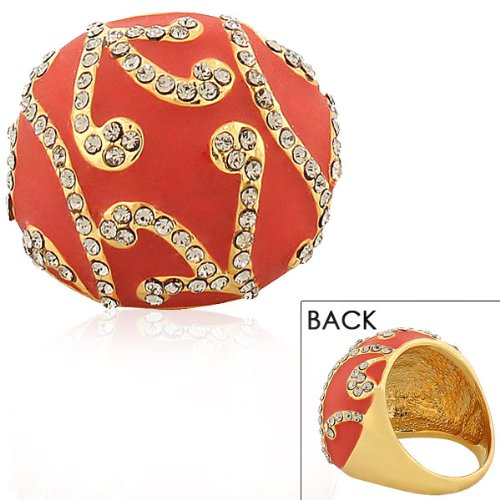 Stainless Steel Yellow Gold Plated Red White Crystals Cz Statement Cocktail Womens Ring (9)