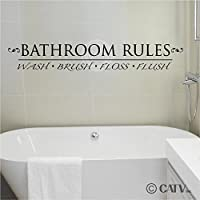 Bathroom Rules wall vinyl home decor sticker lettering quotes appliques by Wall Sayings Vinyl Lettering