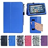 "Amazon Fire case, i-UniK Amazon Fire 7"" Display Wi-Fi 8 GB Tablet 5th Generation 2015 Release Classic Leather Case Bonus Stylus Pen (Blue)"