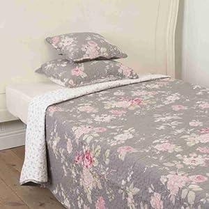 clayre eef tagesdecke plaid quilt decke graue rosen q120. Black Bedroom Furniture Sets. Home Design Ideas