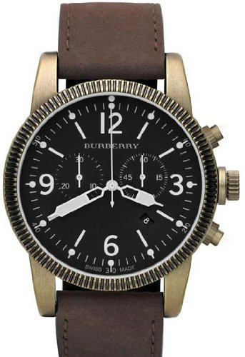 Burberry Endurance Chronograph Black Dial Brown Leather Strap Mens Watch BU7810