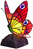 Lighting Web Co Glass Large Tiffany Butterfly, Red/ Orange