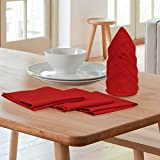 Elan Cotton Marigold Theme Table Napkin 40 X 40 CM (Red)