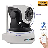 GENBOLT Wireless WiFi Security Camera System 1.0MP 720P HD Pan Tilt IP Network Surveillance Webcam,Day Night Vision Dog Cam,Baby Monitor,Two-Way Audio Nanny Cam,Built-in Microphone,SD Card Slot(128GB),Motion Detection