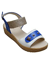 GADGETS Women's Blue Mesh Formals & Lace-Up Flats Shoes - B00Y0LNHIW