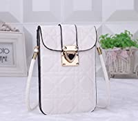 Fashion Cool Gesteppte Lackleder Leather Mini Cross-body Messenger Bag Purse Shoulder Bag Mobile Phone Bag (White)