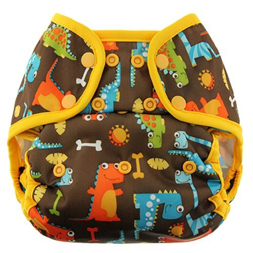 Swaddlebees Capri Cloth Diaper Cover SNAPS (2, Dinos Party) - 1