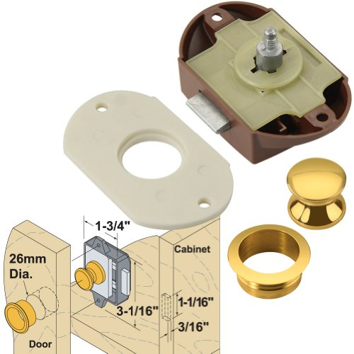Platte River 165257, Hardware, Locks And Latches, Catches And Bolts, Push Button Catch With Brass Fittings