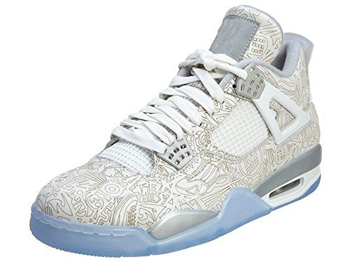 Men's Breathable Outdoor Basketball Sneakers Lace-up Air-sole Heel Retro 4 Waterproof White Leather Upper Aj 4 Tonal Overlays 705333-105 White/Chrome-Metallic Intricate Laser-etched Touches 11 D(M)US (Aj Laser compare prices)