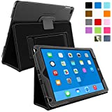 Snugg iPad Air 2 Case - Smart Cover with Flip Stand & Lifetime Guarantee (Black Leather) for Apple iPad Air 2 (2014)