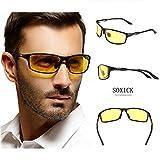 Soxick® HD 夜用 運転 偏光 レンズ サングラス メンズ メタル フレーム スセルフレーム ビッグフレーム 大きい メガネ