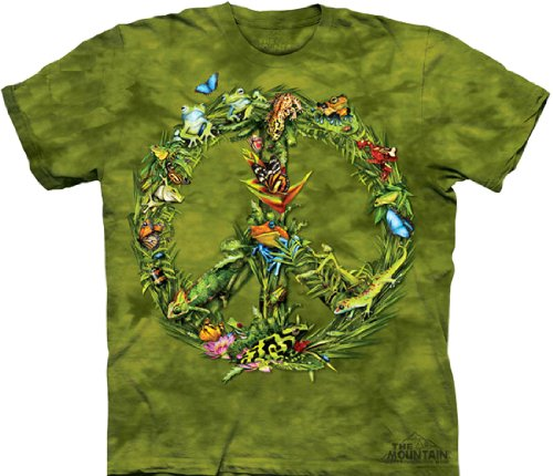 Tie Dyed Shop Peace Sign Tie Dye T Shirt- Rainforest Creatures -Shortsleeve-5X-Multicolored front-322011