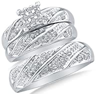 10k White OR Yellow Gold Diamond Cluster Mens And Ladies Couple His & Hers Trio 3 Three Ring Bridal…