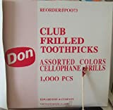 1000 CLUB FRILLED TOOTHPICKS ASSORTED COLOURS CELLOPHANE FRILLS