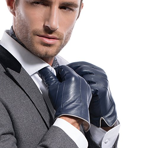 MATSU Luxury Men Winter Warm Lambskin Leather Gloves M1006 (XL, Navy Blue(2014 winter new /100% cashmere lining / Touchscreen available)) (Made In Usa Leather Gloves compare prices)