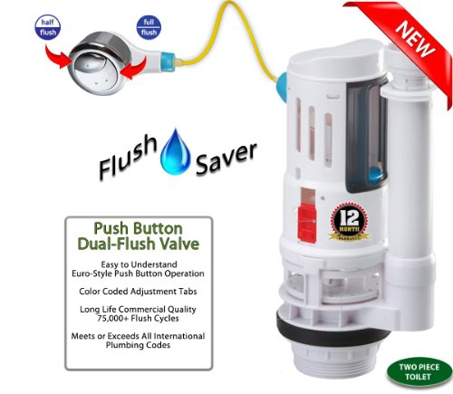 FlushSaver PUSH BUTTON EURO-STYLE Dual-Flush Complete DIY Conversion Kit - CONSERVES WATER by replacing wasteful old-style ballcock and flapper mechanisms. Converts standard toilets into efficient dual-flush systems. FLUSH VALVE ONLY - NO ACCESSORIES