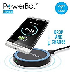 PowerBot® PB1020 Qi Enabled Wireless Charger Inductive Charging Pad Station for All Qi Standard Compatible Devices - Blue on Black