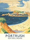 TRAVEL BEACH COAST HARBOUR PORTRUSH NORTHERN IRELAND BRITISH RAIL 30X40 CMS FINE ART PRINT ART POSTER BB9706