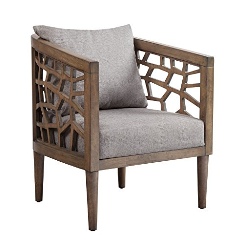"Ink+Ivy IIF18-0054 Crackle Accent Chair, 27"" W x 29"" D x 32.5"" H, Light Grey/Natural"