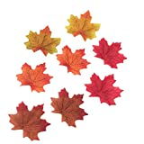 Derker 200 Assorted Artificial Fall Maple Leaves of Autumn Colors - Great Autumn Table Scatters and Fall Decorating