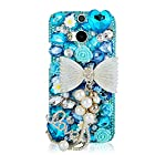 EVTECH(TM) Luxury 3D Handmade Blue Bow Fashion Crystal Rhinestone Bling Hard Case Cover Clear for New HTC One M8 HTC One 2014 Smartphone