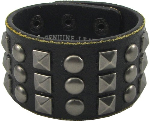 Black Leather with Pewter Pyramid & Studs Bracelet