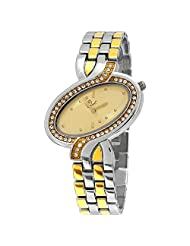 Evelyn Creation Gold Round Dial Analogue Watch For Women