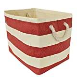 DII Home Essentials Woven Paper Collapsible Convenient Storage Bin for Office, Large, Tango Red Stripe