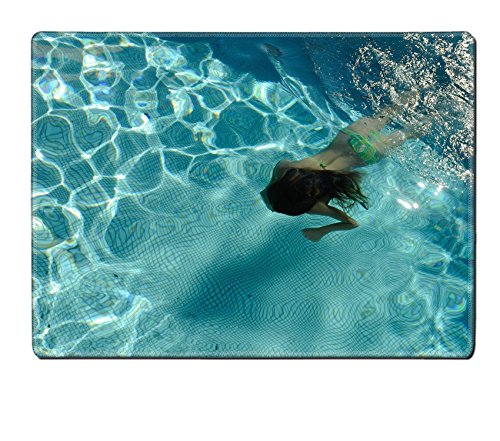 Luxlady Placemat Kitchen Table 15.8 x 12 x 0.2 inches Girl swimming in a pool under water IMAGE 19342208 Customized Art Home Kitchen