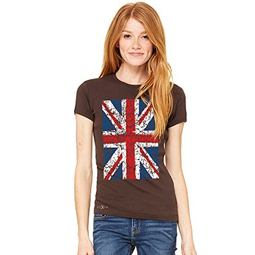 Distressed British Flag Great Britain Women's T-shirt Patriotic Tee Black Large (British Shirt For Girls compare prices)