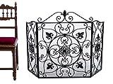 Kamin Funkenschutz Fleur de Lis Eisen Kamingitter antik Stil fire screen guard