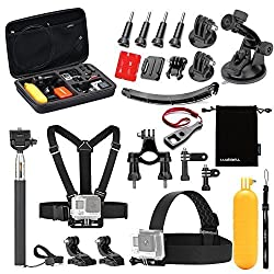 Luxebell 33-in-1 Moto Accessories Bundle Kit for Gopro Hero 4 Session Black Silver Hero+ Lcd 3+ 3 2 Camera and Sjcam Sj4000 Sj5000 - Carry Case / Chest Harness / Helmet Mount / Telescopic Pole