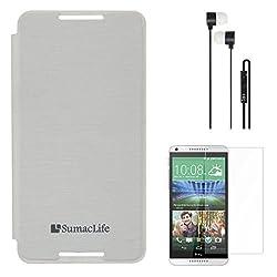 SumacLife Premium Flip Cover Case for HTC Desire 816G (White) + Black Earphones + Matte Screen