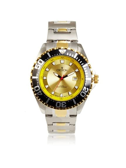 Croton Men's CA301228TTYL Aquamatic Yellow Dial Stainless Steel Watch