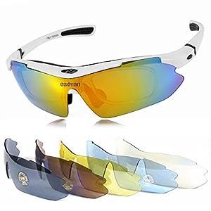 偏光サングラス メンズ レディース 兼用 フリーサイズ 軽量 耐衝撃 UVカット 交換レンズ5枚付き