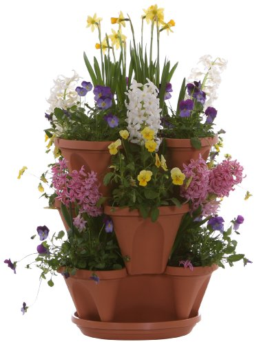 Nancy Janes P1360 12-inch Stacking Planters with Patented Flow through Watering System and Hanging Chain, Terracotta, Set of 3