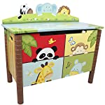 Fantasy Fields - Sunny Safari Animals Thematic Kids Wooden Toy Chest with Safety Hinges | Imagination Inspiring Hand Crafted & Hand Painted Details Non-Toxic, Lead Free Water-based Paint