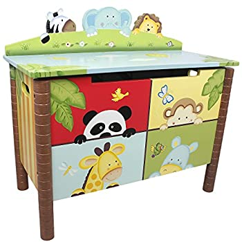 Sunny Safari Animals Thematic Kids Wooden Toy Chest with Safety Hinges | Imagination Inspiring Hand Crafted