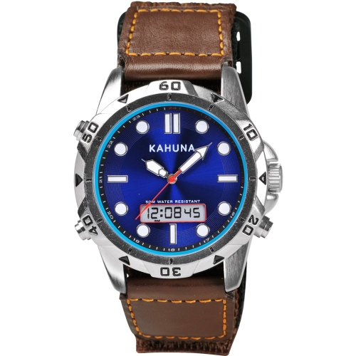 Kahuna Men's Quartz Watch with Blue Dial Analogue - Digital Display and Brown Fabric and Canvas Strap K6V-0009G