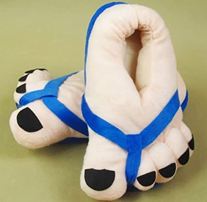 Funny Winter Toe Big Feet Warm Soft Plush Slippers Novelty Gift Adult Shoes -Blue